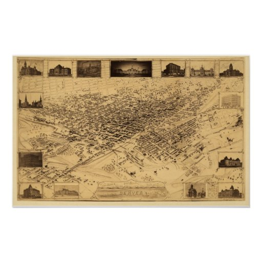 Denver CO Panoramic Map DIGITALLY REMASTERED Poster