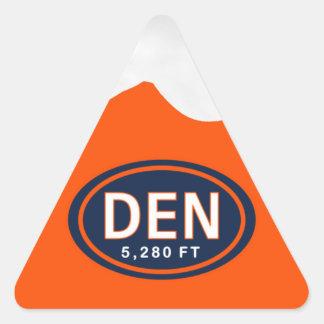 Denver CO pegatinas azules y anaranjados de 5.280 Pegatina Triangular