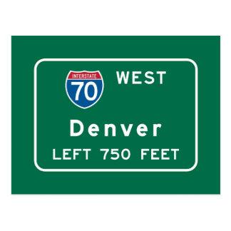 Denver, CO Road Sign Postcard