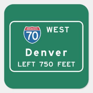 Denver, CO Road Sign Square Sticker