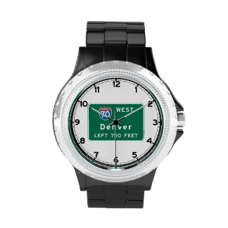 Denver, CO Road Sign Wrist Watches