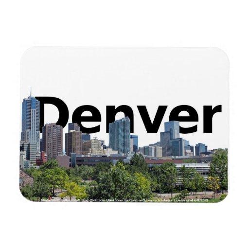 Denver CO Skyline with Denver in the Sky Rectangular Photo Magnet