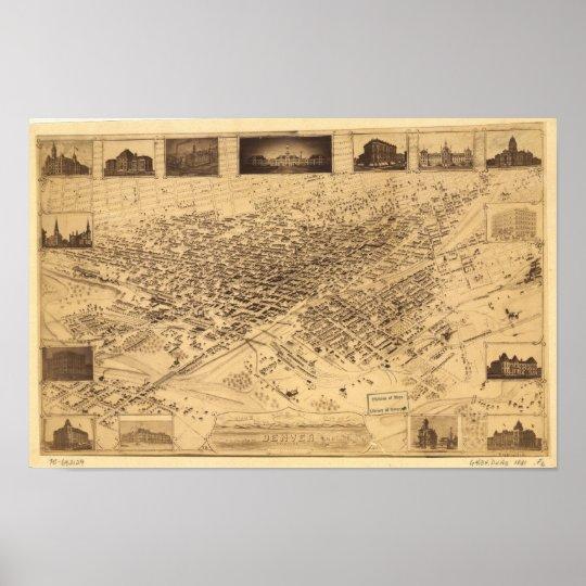 Denver Colorado 1881 Panoramic Map Poster