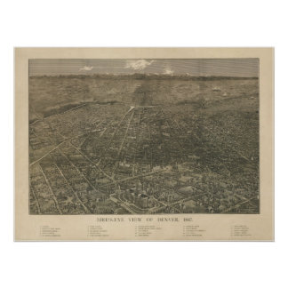 Denver Colorado 1887 Antique Panoramic Map Poster