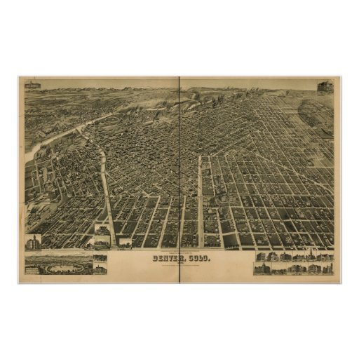 Denver Colorado 1889 Antique Panoramic Map Poster