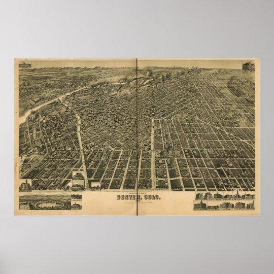 Denver Colorado 1889 Antique Panoramic Map Poster