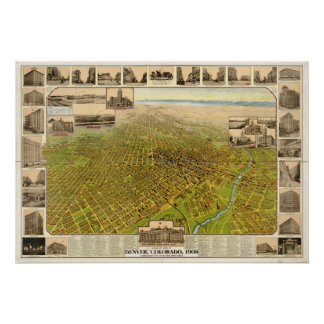 Denver Colorado 1908 Antique Panoramic Map Poster