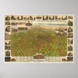 Denver Colorado 1908 Panoramic Map Poster