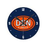 Denver Colorado 5,280 FT Orange and Blue Football Round Wall Clocks