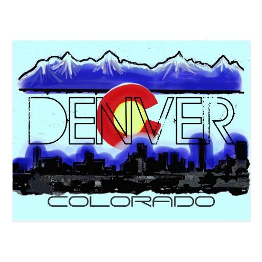Denver Colorado artistic skyline flag postcard