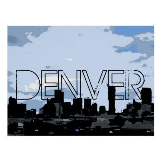Denver Colorado artistic skyline poster