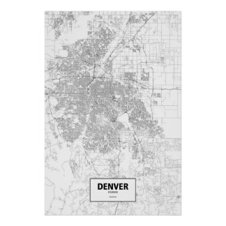 Denver, Colorado (black on white) Poster