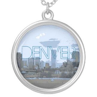 Denver Colorado blue artistic skyline necklace