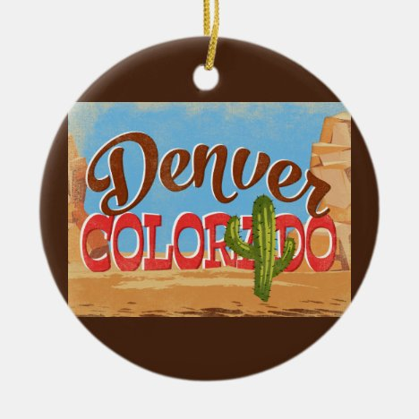 Denver Colorado Cartoon Desert Vintage Travel Ceramic Ornament