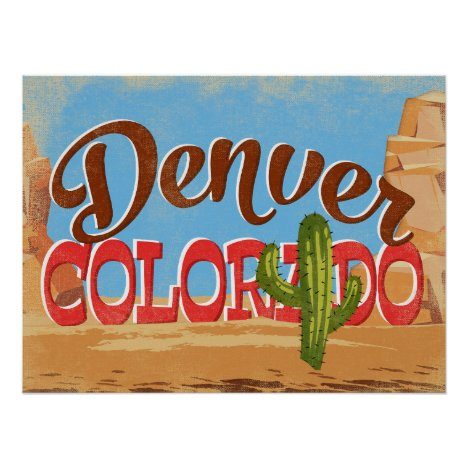 Denver Colorado Cartoon Desert Vintage Travel Poster