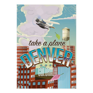 Denver Colorado Cartoon travel poster