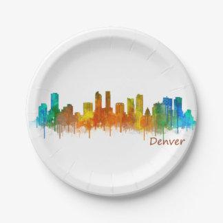 Denver Colorado City Skyline v02 Paper Plate