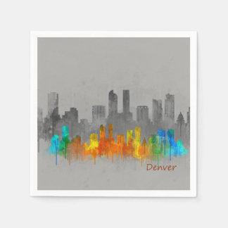 Denver Colorado City Watercolor Skyline b/w-color Paper Napkin