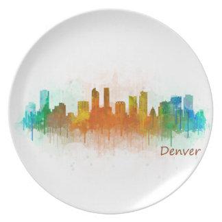 Denver Colorado City Watercolor Skyline Hq v3 Dinner Plate