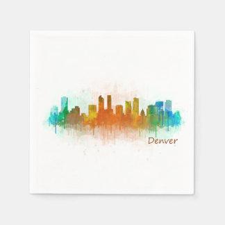 Denver Colorado City Watercolor Skyline Hq v3 Paper Napkin