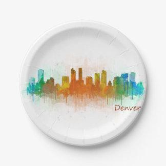 Denver Colorado City Watercolor Skyline Hq v3 Paper Plate