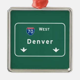 Denver Colorado co Interstate Highway Freeway : Metal Ornament