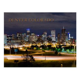 Denver, Colorado en la noche Tarjetas Postales