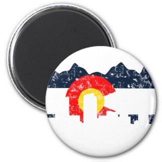 Denver Colorado Flag 2 Inch Round Magnet