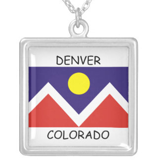 Denver, Colorado Flag Square Pendant Necklace
