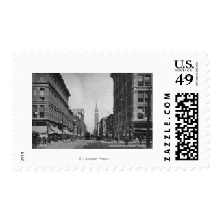 Denver, Colorado - Looking down 16th Street View Postage Stamp