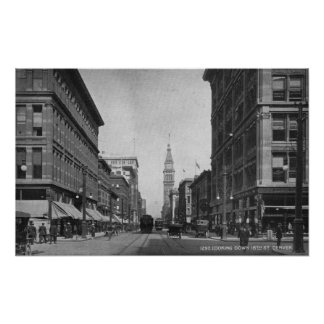 Denver, Colorado - Looking down 16th Street View Poster