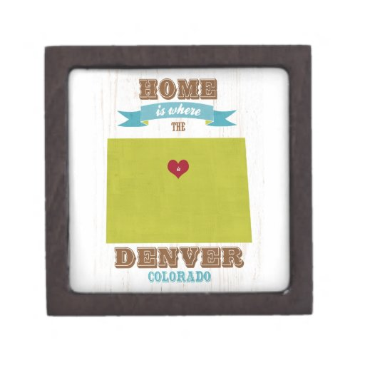 Denver, Colorado Map – Home Is Where The Heart Is Premium Gift Boxes