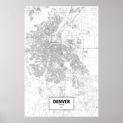 Denver, Colorado (negro en blanco) Póster