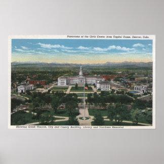 Denver, Colorado - panorama de cívico Póster