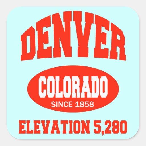 Denver Colorado Calcomanía Cuadradas Personalizadas