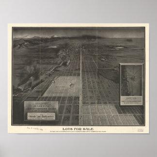 Denver Colorado porciones para el mapa panorámico Poster