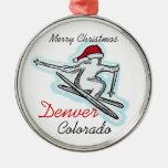 Denver Colorado santa skier hat ornament