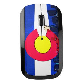 Denver Colorado skyline flag wireless mouse