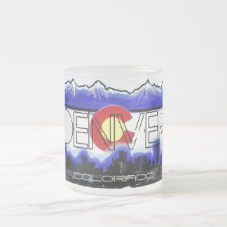 Denver Colorado skyline frosted coffee mug