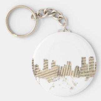 Denver Colorado Skyline Sheet Music Cityscape Basic Round Button Keychain