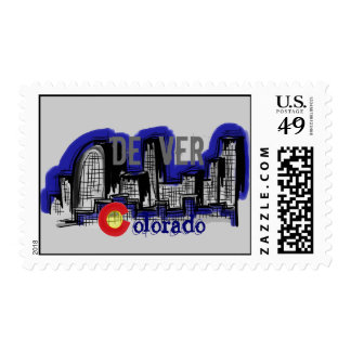 Denver Colorado skyline stamp