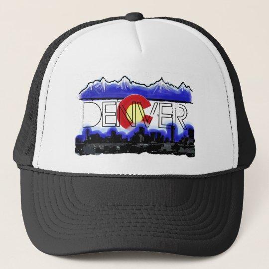 Denver Colorado skyline state flag artistic hat