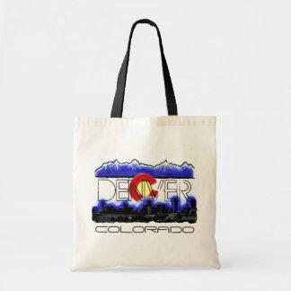Denver Colorado skyline state flag souvenir bag