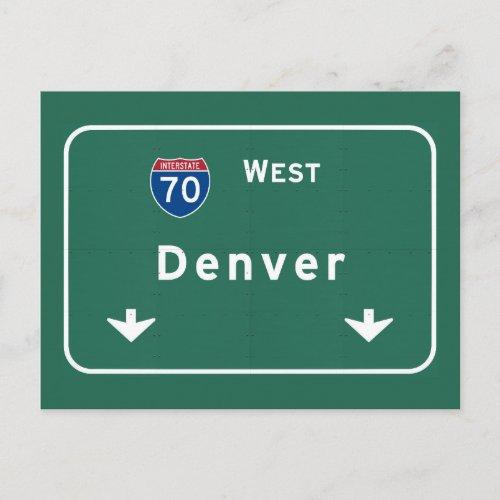 Denver Colorado with Interstate Highway Freeway  Postcard