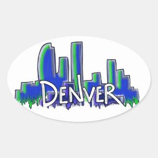 Denver graffiti style skyline oval sticker