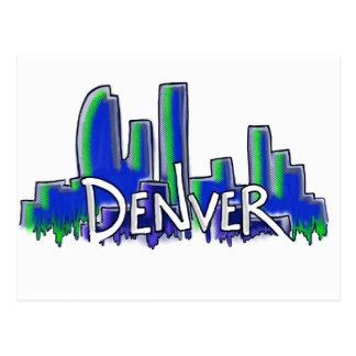 Denver graffiti style skyline postcard