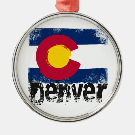 Denver Grunge Flag Metal Ornament