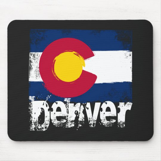Denver Grunge Flag Mouse Pad