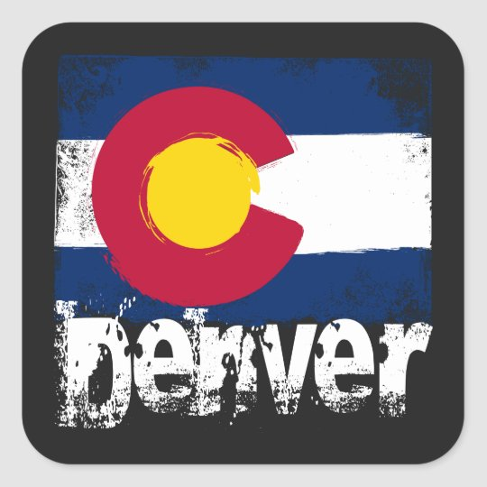 Denver Grunge Flag Square Sticker