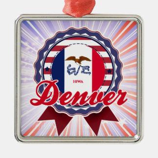 Denver, IA Adorno Cuadrado Plateado